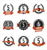 Anniversary Vintage Badges 5th Years Celebrating. Vector Set of Vintage Anniversary Red Badges 5th Years Celebrating Stock Photos
