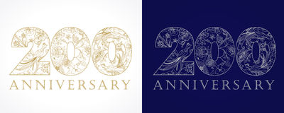 200 anniversary vintage golden and silver numbers. 200 years old luxurious celebrating numbers. Template golden, silver colored happy anniversary decorating Stock Photos