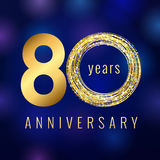 Anniversary 80 year number gold colored vector logo Royalty Free Stock Photos