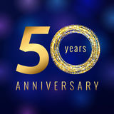 Anniversary 50 year number gold colored vector logo. Fifty years colorful greeting card. Holiday shining icon. Blue background. Business, fashion, musics, arts Stock Photography