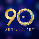Anniversary 90 year number gold colored vector logo. Ninety years colorful greeting card. Holiday shining icon. Blue background. Business, fashion, music, arts Royalty Free Stock Images