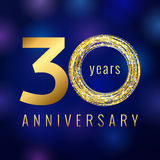 Anniversary 30 year number gold colored vector logo. Thirty years colorful greeting card with shining icon on blue abstract background. Business, fashion stock Stock Photos