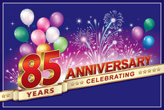 Anniversary 85 years. With balloons and fireworks Royalty Free Stock Photo