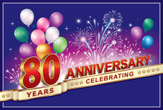 Anniversary 80 years. With balloons and fireworks Stock Image