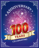 Anniversary 100 years. Anniversary card 100 years with  firework on a blue background Royalty Free Stock Photos