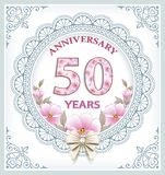 Anniversary 50 years. Anniversary card 50 years in a frame with an ornament and flowers Royalty Free Illustration