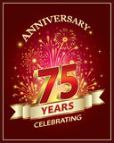 Anniversary  75 years. Anniversary card 75 years old with fireworks on claret background Royalty Free Stock Photography