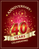 Anniversary 40 years. Anniversary card 40 years old with fireworks on claret background Stock Photos