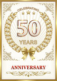 Anniversary 50 years. Anniversary card 50 years with a wreath and bow in a frame with an ornament Royalty Free Stock Photo