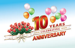 Anniversary 10 years Stock Images