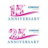Anniversary at 15 and 25 years. The anniversary of a company Illustration 15 and 25 years vector illustration