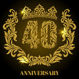 Anniversary of 40 years. Digits, frame and crown made in swirls Stock Image