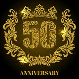 Anniversary of 50 years. Digits, frame and crown made in swirls Royalty Free Stock Photos