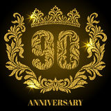 Anniversary of 90 years. Digits, frame and crown made in swirls. And floral elements with gold glitter and sparkle Royalty Free Stock Photography