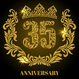 Anniversary of 35 years. Digits, frame and crown made in swirls. And floral elements with gold glitter and sparkle Royalty Free Stock Photos