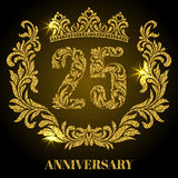 Anniversary of 25 years. Digits, frame and crown made in swirls. And floral elements with gold glitter and sparkle Royalty Free Stock Image