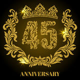 Anniversary of 45 years. Digits, frame and crown made in swirls. And floral elements with gold glitter and sparkle Royalty Free Stock Images