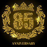 Anniversary of 85 years. Digits, frame and crown made in swirls. And floral elements with gold glitter and sparkle Royalty Free Stock Photos