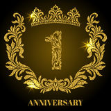 Anniversary of 1 years. Digits, frame and crown made in swirls. And floral elements with gold glitter and sparkle Royalty Free Stock Photography