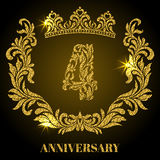 Anniversary of 4 years. Digits, frame and crown made in swirls a. Nd floral elements with gold glitter and sparkle Royalty Free Stock Photo