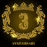 Anniversary of 3 years. Digits, frame and crown made in swirls. And floral elements with gold glitter and sparkle Royalty Free Stock Images