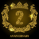Anniversary of 2 years. Digits, frame and crown made in swirls a Stock Image