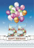 Anniversary of 55 years with a floral pattern. Greeting card anniversary 55 years with a floral pattern and balloons on a blue background Royalty Free Stock Photo