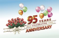 95 years anniversary. Anniversary 95 years with flowers, balloons and ribbon vector illustration