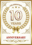 Anniversary 10 years.Gold design Royalty Free Stock Photography