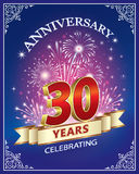 Anniversary 30 years. Greeting card with the 30th anniversary of salute Royalty Free Stock Photos