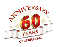Anniversary 60 years.   Jubilee 60 years against the backdrop of stars and sunlight Royalty Free Stock Image