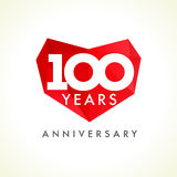 Anniversary 100 years old hearts Stock Images