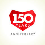 Anniversary 150 years old hearts. Celebrating vector logo. Birthday greetings, stained-glass frame, heart shape. Lovely stained one hundred fifty celebrating Royalty Free Stock Images