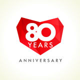Anniversary 80 years old hearts Royalty Free Stock Photography
