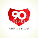 Anniversary 90 years old hearts Royalty Free Stock Photos