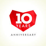 Anniversary 10 years old hearts celebrating vector logo. Stock Photos