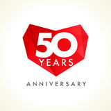 Anniversary 50 years old hearts celebrating vector logo. Stock Image
