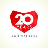 Anniversary 20 years old hearts celebrating vector logo. Royalty Free Stock Image