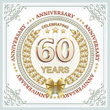 Anniversary 60 years. Anniversary postcard 60 years old with laurel wreath in frame with ornament Royalty Free Stock Image