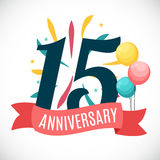 Anniversary 15 Years Template with Ribbon Vector Illustration. 15 Vector Illustration