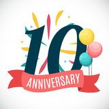 Anniversary 10 Years Template with Ribbon Vector Illustration. EPS10 Royalty Free Illustration