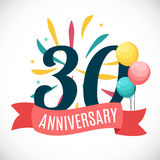 Anniversary 30 Years Template with Ribbon Vector Illustration Royalty Free Stock Photos
