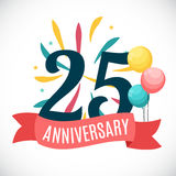 Anniversary 25 Years Template with Ribbon Vector Illustration. EPS10 Stock Photography