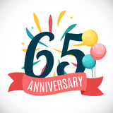 Anniversary 65 Years Template with Ribbon Vector Illustration. EPS10 stock illustration