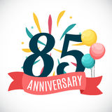 Anniversary 85 Years Template with Ribbon Vector Illustration. EPS10 Stock Photos