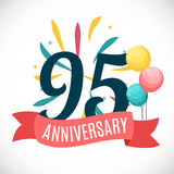 Anniversary 95 Years Template with Ribbon Vector Illustration. EPS10 stock illustration