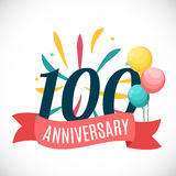 Anniversary 100 Years Template with Ribbon Vector Illustration Stock Photos
