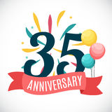 Anniversary 35 Years Template with Ribbon Vector Illustration. EPS10r Royalty Free Stock Images