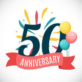 Anniversary 50 Years Template with Ribbon Vector Illustration. EPS10r Stock Photo