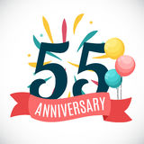 Anniversary 55 Years Template with Ribbon Vector Illustration. EPS10r Royalty Free Stock Image